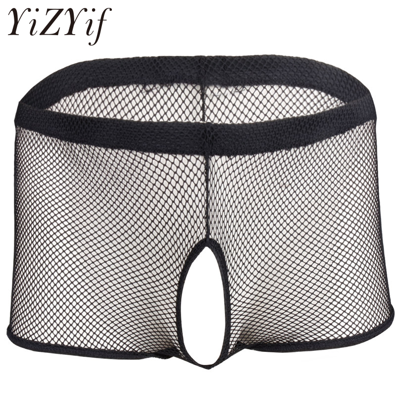 0a8ee527617 YiZYiF Hot Men s Fishnet Transparent Jockstrap Open Crotch Butt Boxer  Shorts Underwear Underpants Penis Hole Gay Sexy Panties-in Boxers from  Novelty ...