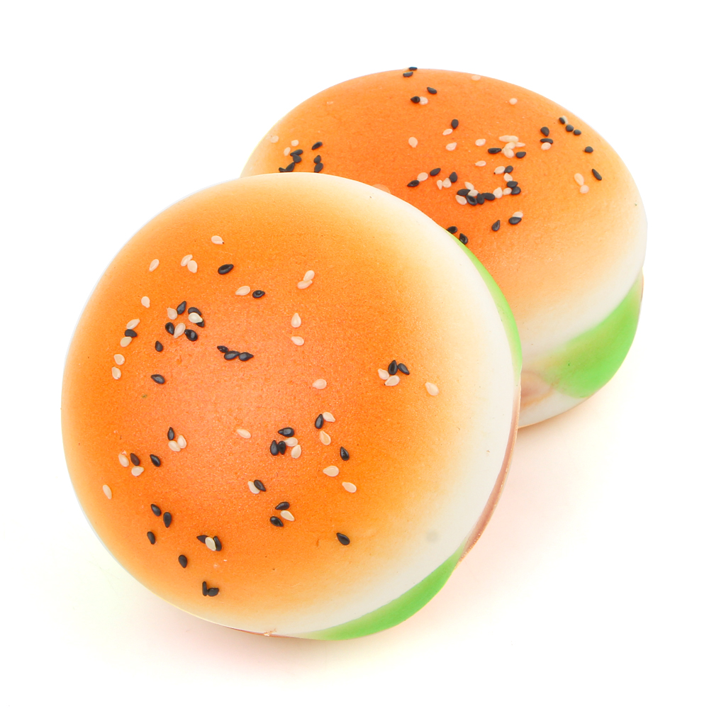 Squishy Sesame Covered Hamburger Phone Charms Key Chain Soft Bread Scented Food Simulatons Bun Straps