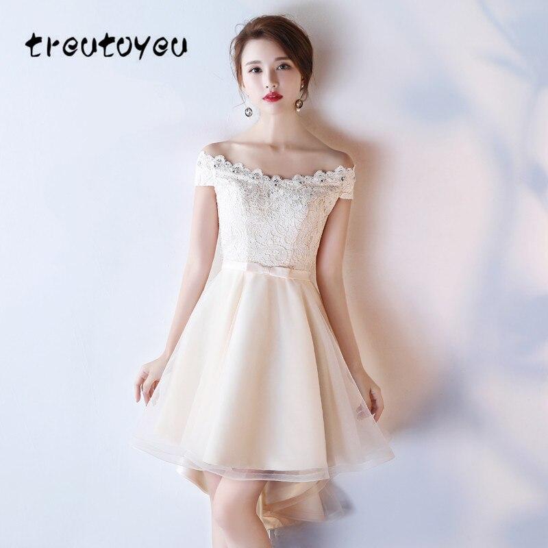 Treutoyeu 2018 Новый Для женщин кружевное платье с Кристалл бежевый вечер плюс Размеры платье с открытыми плечами платье невесты Вечерние d019A