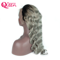 1B Grey Lace Front Human Hair Wigs Brazilian Remy Body Wave 130% Density Ombre Gray Weave Wig Dreaming Queen Hair