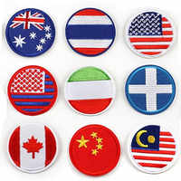 100pcs/lot Round Embroidery Patches Circular Clothing Accessories National Flag Chapter  Decoration Badge Heat Transfer