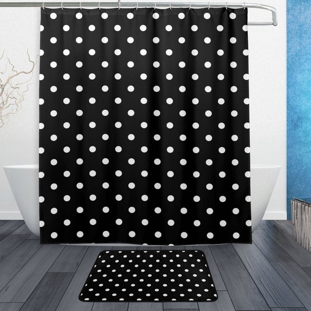 Black And White Polka Dots Shower Curtain And Mat Set Polka Dots