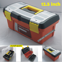12.5 inch Portable Plastic Toolbox Double deck PP Tool box Case 32*18*15cm