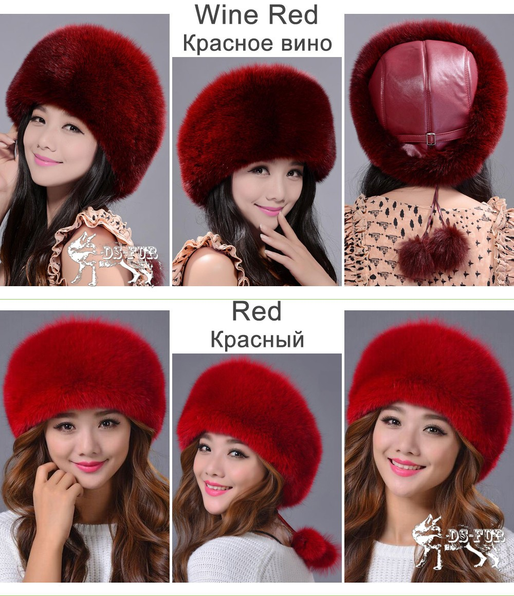 Women leather real fox fur hats05