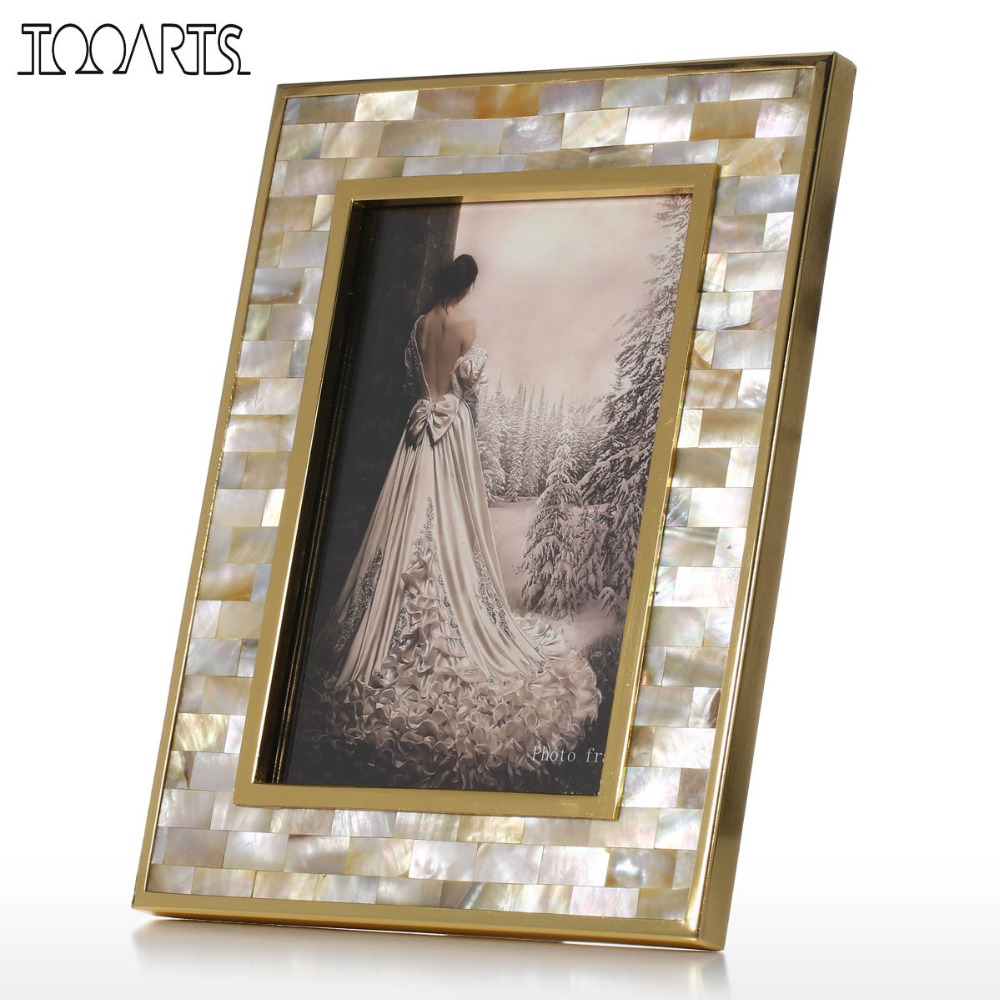 Tooarts Photo Frame with Golden Shell Black Lip Shell Wooden Piano Baking Varnish Technology Office Study & Bedroom Ornaments