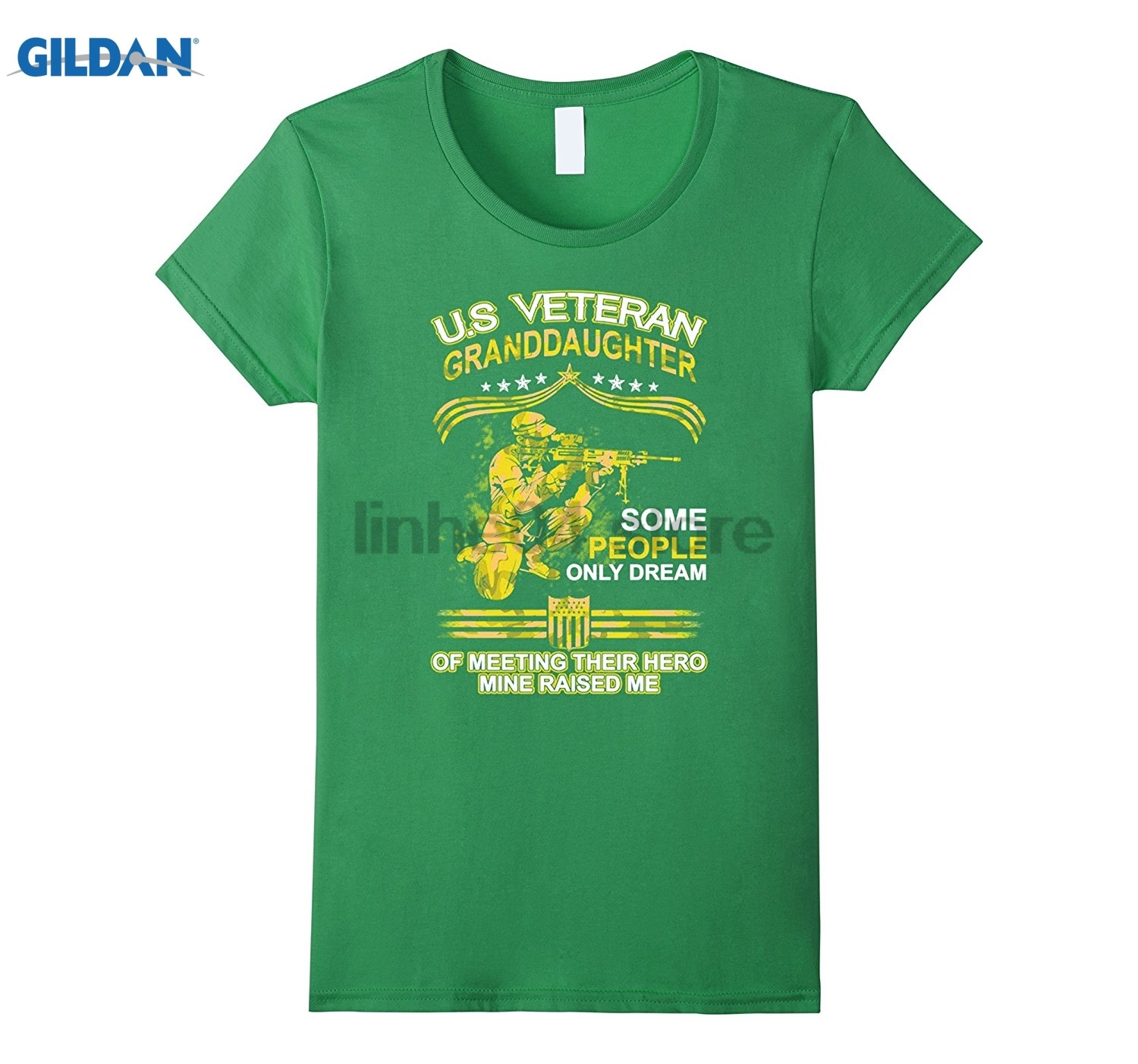 GILDAN U.S Veteran Granddaughter T-Shirt Dress female T-shirt Mothers Day Ms. T-shirt ...