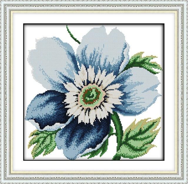 Blue flowers cross stitch kit