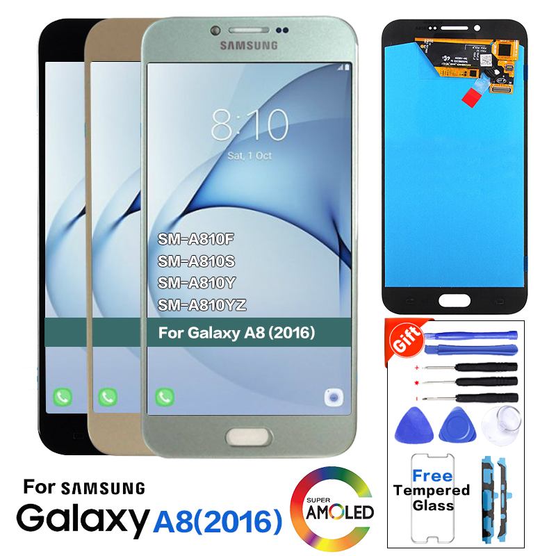 100% Tested <font><b>LCD</b></font> <font><b>Display</b></font>+<font><b>Touch</b></font> <font><b>Screen</b></font> For <font><b>Samsung</b></font> <font><b>Galaxy</b></font> <font><b>A8</b></font> 2016 A810 A810F A810U with Digitizer Assembly +Tempered Glass image
