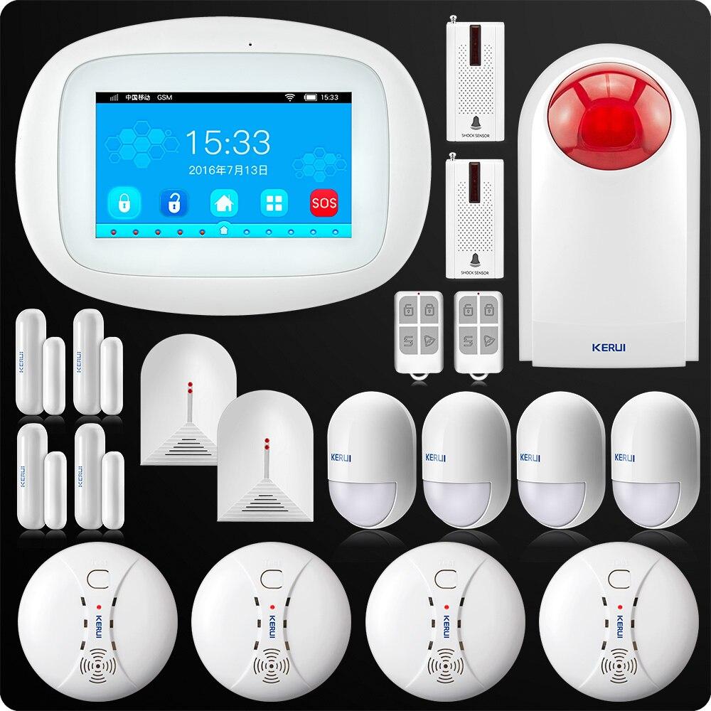 KERUI K52 4 3 Inch TFT Color Screen Wireless Security Alarm WIFI GSM Alarm System APP