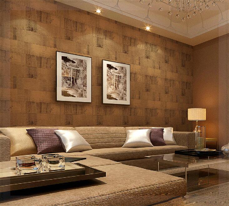 Al vio imita o de madeira papel de parede papel de parede for Sala de estar lujosa