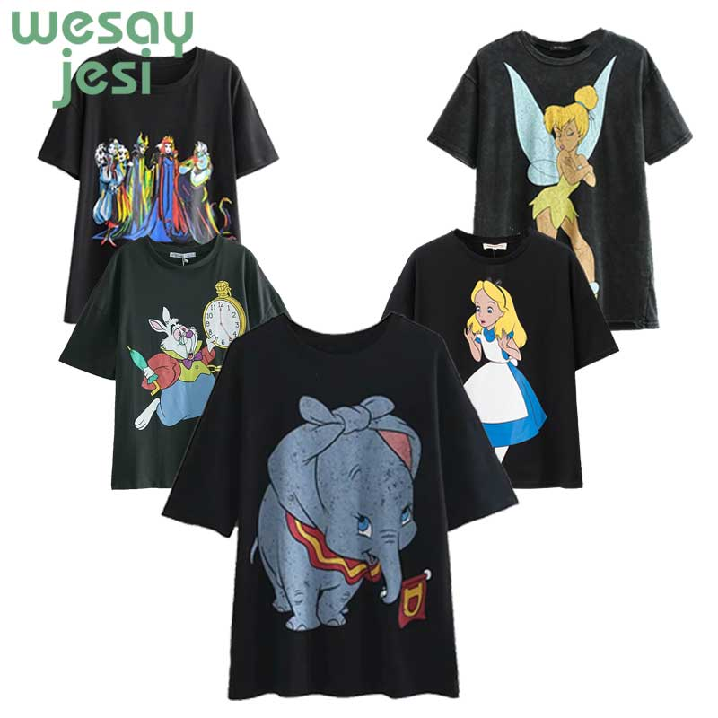 T     shirt   women 2019 new fashion summer Dumbo print short-sleeve women's   T  -  shirt   harajuku loose cheap clothes   t  -  shirt   plus size