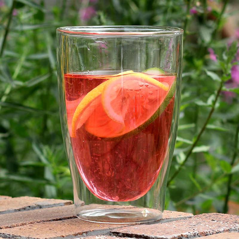 350ml Double Wall Transparent Glass Mug Heat Resistant Ice Cream Wine Glass Beer Juice Water Milk Coffee Mug Tea Cup Drinkware