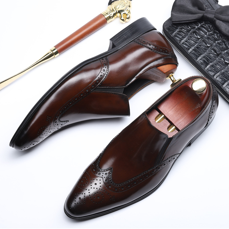 Fashion Business Men Formal Shoes Pointed Toe Slip On Men Dress Shoes Genuine Leather Office Shoe Vintage Brogue Shoes in Formal Shoes from Shoes