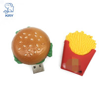 hot  Creative Cartoon Toys Burger Memory Stick usb2.0 4GB 8GB 16GB 32GB 64GB French Fries Pendrive Thumb Shape External