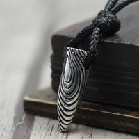 925 sterling silver weapon bullet pendant men and women simple vintage wax rope necklace