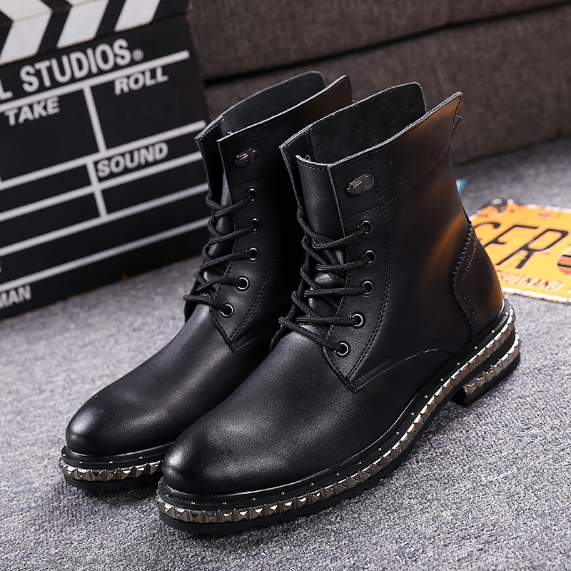 High Quality Full Grain Leather Men Boots Army Boots Men's High-top Lace-up  Martin Shoes Ankle Botas Pidepier Motorcycle Boots top high speed full teeth piston