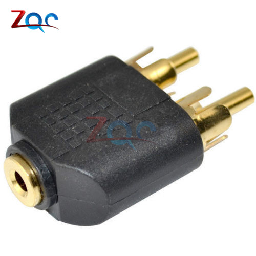 Gold 3.5 mm Female To 2 RCA MALE Stereo Audio Adapter Connector Convertor 6 35mm male to 3 5mm female stereo audio adapter for speaker microphone golden black 2 pcs