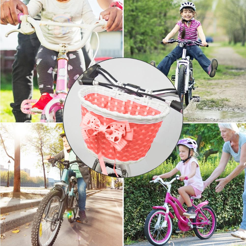 Kids Bicycle Basket Plastic Knit Bow Carriage Basket Bicycle Scooter Strollers Bike Organizer Baskets Storage Baskets Bike Parts