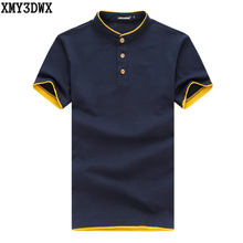 2017 Casual POLO shirt male summer fashion new men's Patchwork stitching cotton short polo-sleeved polo shirt Slim Men 5XL 6XL