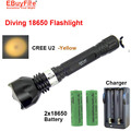 Diving led flashlight Underwater 18650 Torch CREE U2 L2 2000LM Flash LED light Lamp Waterproof + 2x 18650 battery +charger