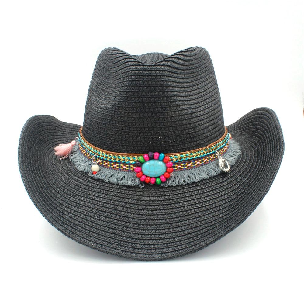 Womenstraw occidental Sombreros de vaquero con roll up ala ancha para Lady  cowgirl Jazz sombrero con c4b1d276c8f