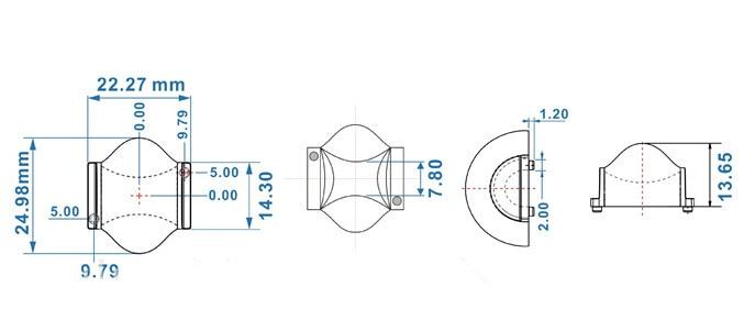 BCR-24.98 Высококачественная светодиодная линза, линза оконной лампы, материалы PMMA, размер: 24,98X22,27X13,65 мм, степень: 5X120, чистая поверхность