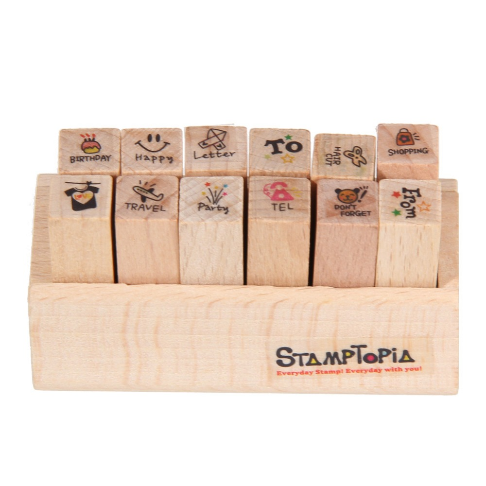 Scrapbook ideas china - 12 Pcs Set Lovely Stamp Rubber Cute Diy Writing Scrapbooking Stamp Gift With Wooden Box For Diary Scrapbook Craft