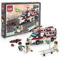 Enlighten 1118 ambulancia para enfermera doctor juguetes playmobil juguetes para niños bloques de construcción de juguetes para niños regalos de navidad