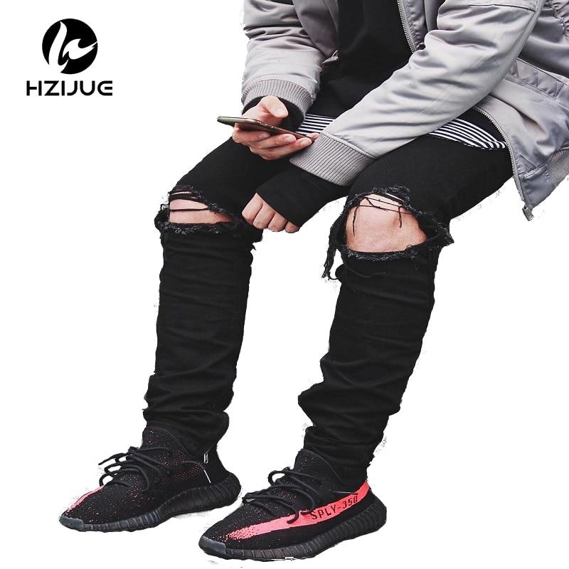 HZIJUE streetwear pants2017 new men's jeans ripped jeans for men slim famous brand designer biker hip hop swag black streetwear mens jeans ripped denim full pants new famous brand biker jeans men high quality slim patch jeans plus size 1604