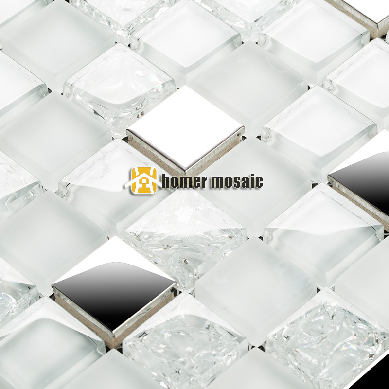 Square Clear Crystal Glass Mixed Crackle Glass And Stainless Steel For Bathroom Shower Tiles Kitchen Backsplash