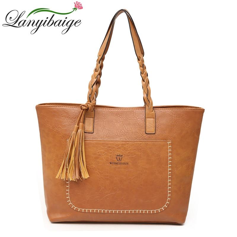 Factory Direct Sales Vintage Tassel Bags Women Handbag Pu Leather Shoulder Bags Designer Big Shopping Bag High Quality
