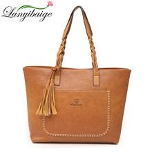 Factory Direct Sales 2018 Vintage Tassel Bags Women Handbag PU Leather Shoulder Bags Designer Big shopping bag High Quality