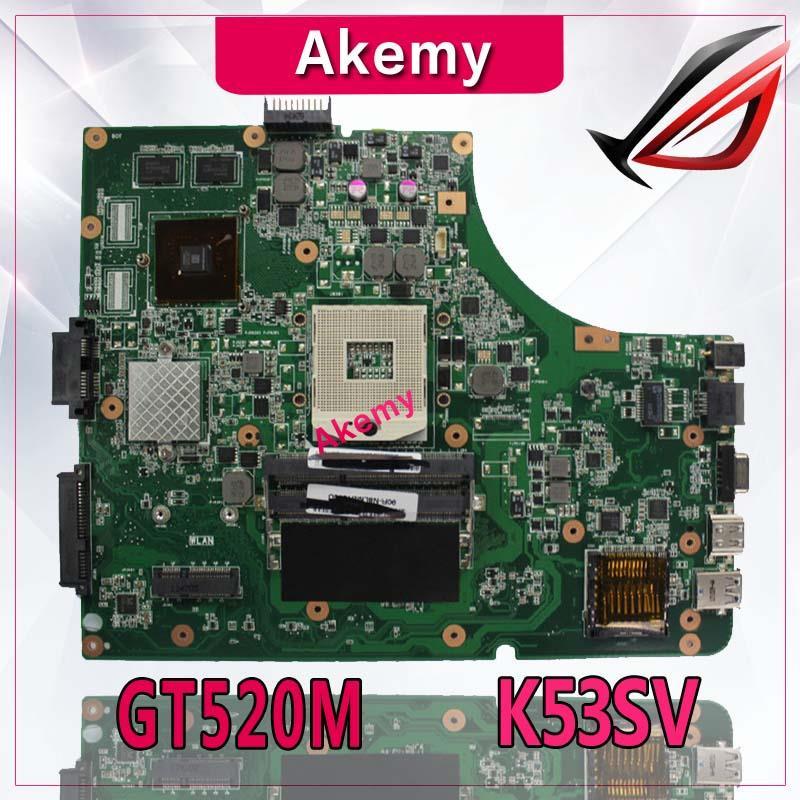 Akemy K53SV Laptop Motherboard For ASUS K53SV K53SC K53S K53 Test Original Mainboard REV2.1/2.4/3.0/3.1 GT520M