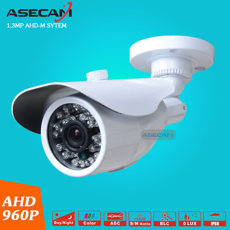 AHD 960P CCTV Camera Waterproof Outdoor Mini Metal White Bullet 24LED Infrared Night Vision Security Surveillance low illumination hd 1 3mp cctv 960p ahd camera 3000tvl outdoor waterproof mini small metal white bullet ir security surveillance