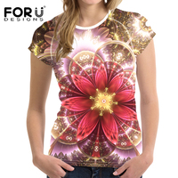 FORUDESIGNS 2017 Fashion Women T Shirt Crop Tops Pretty Floral T Shirt Woman Short Sleeved Rose