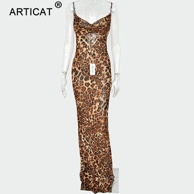 Articat Sexy V Neck Leopard Party Dress Women Spaghetti Strap Backless Slim Maxi Dress Summer Chiffon Long Beach Dress Vestidos 5