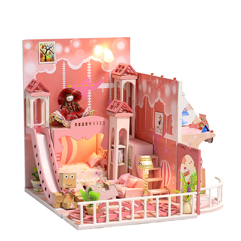Miniature Pink Dream Childrens Room Dollhouse With Dolls Trojan LED Lights Furniture Kits DIY Wooden Dolls House Birthday Gift