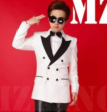 S-5XL 2017 New Men's fashion Blazers Men white double-breasted wool Sanding Suit coat male singer Stage costumes clothing