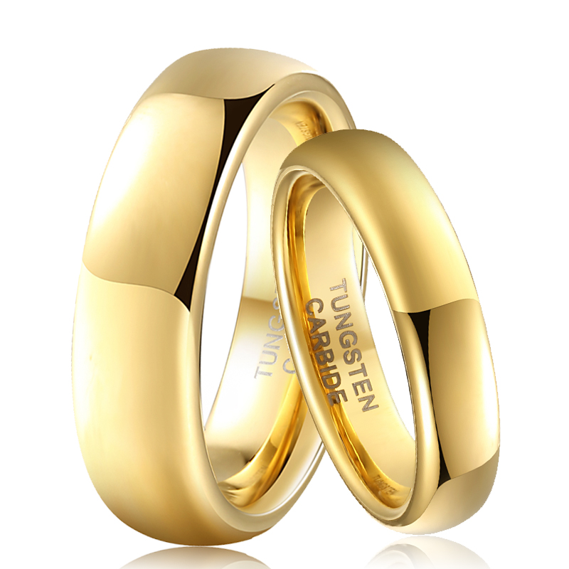 Promised-Rings And Her 6mm Men Tungsten Women for 4mm Couple His Gold-Color Shiny-Forever