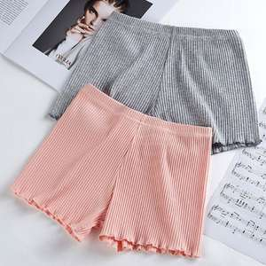 Boxer-Shorts Underpants Ribbed Seamless Ruffled Stretchy Striped Summer Women Ladies