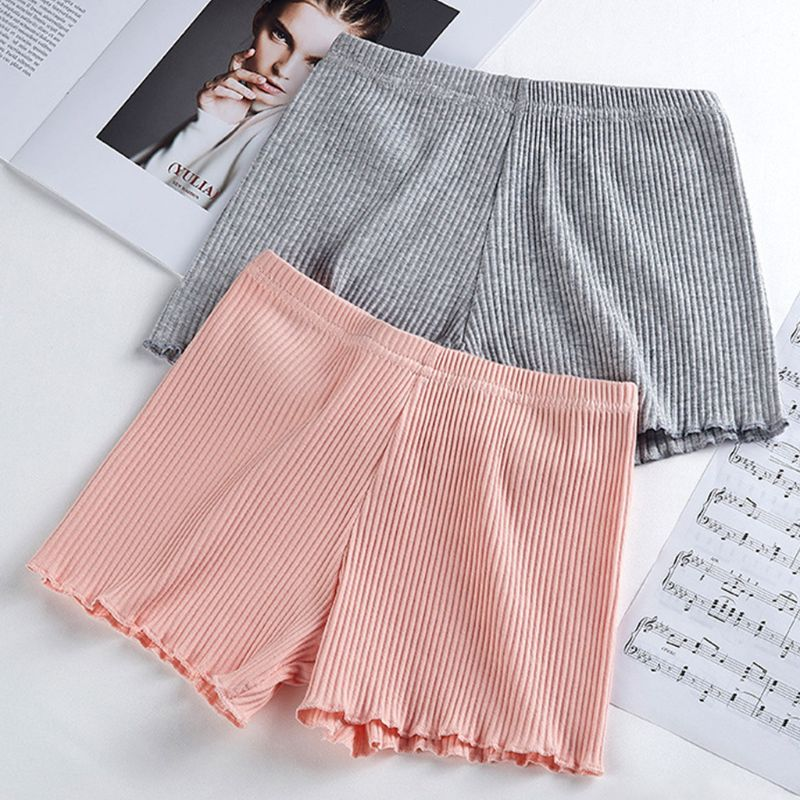 Ladies Women Summer Safety Pants Thread Ribbed Striped Seamless Stretchy Underpants Solid Color Ruffled Agaric Hem Boxer Shorts