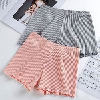 Ladies Women Summer Safety Pants Thread Ribbed Striped Seamless Stretchy Underpants Solid Color Ruffled Agaric Hem Boxer Shorts stylish solid color stretchy yoga pants for women
