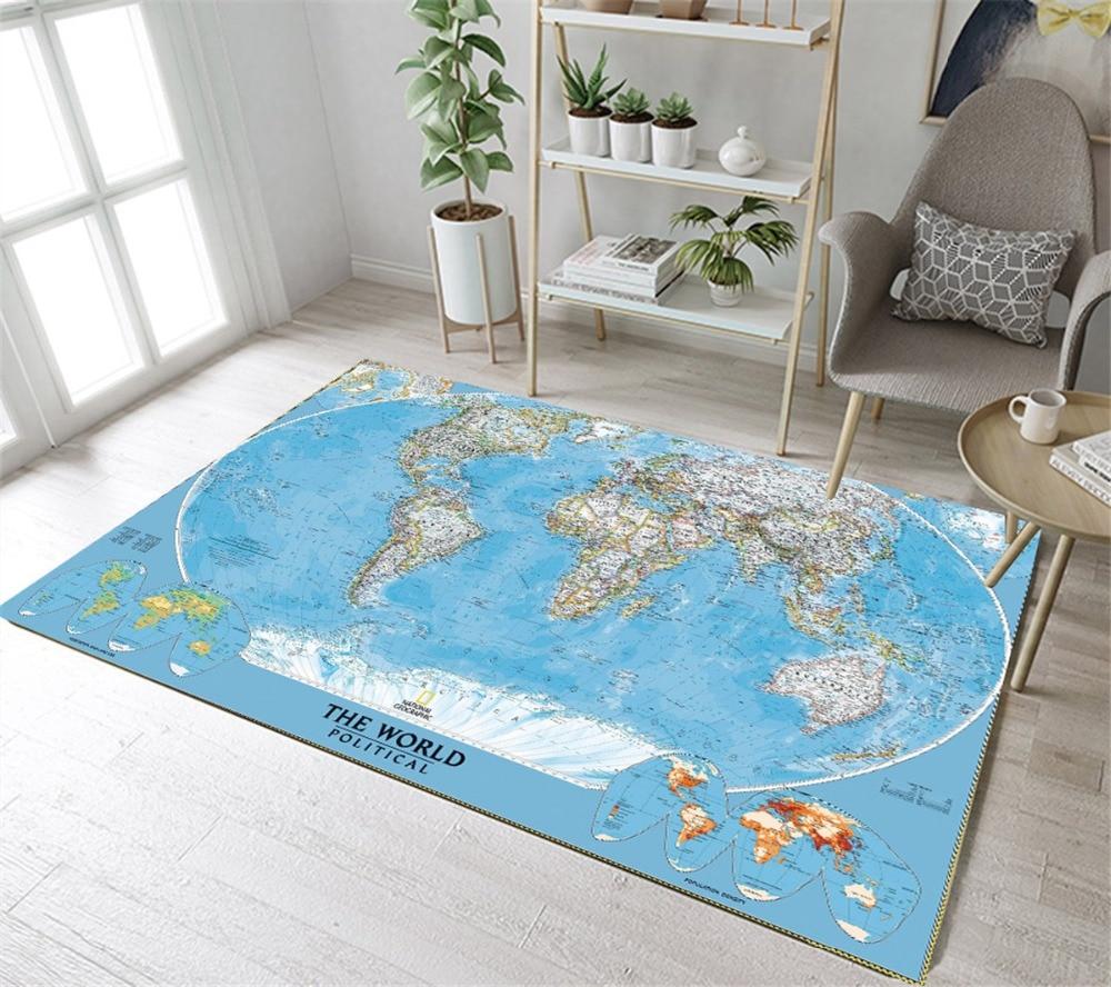 Home Children's Room Floor Cushion Kitchen Area Rugs Bathroom Carpets Non-Slip Mat Political World Map Land Ocean Warp And Weft