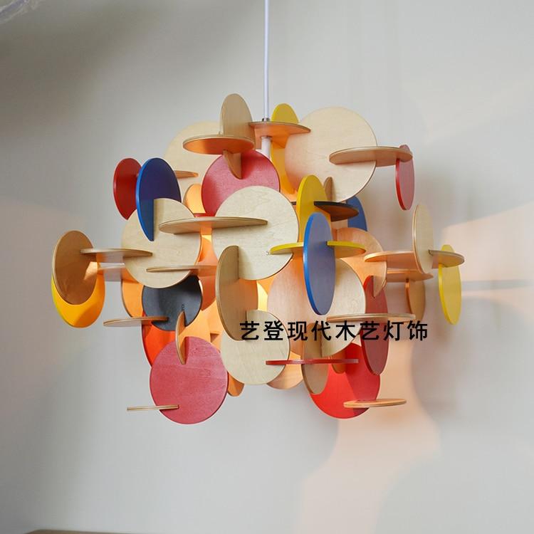 Enfants chambre pendentif lumière garçon fille chambre couleur bois parquet blocs suspendus éclairage lampe