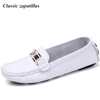 Classic Zapatillas Shoes Woman 2017 Genuine Leather Women Shoes Flats 6colors Loafers Slip On Women S