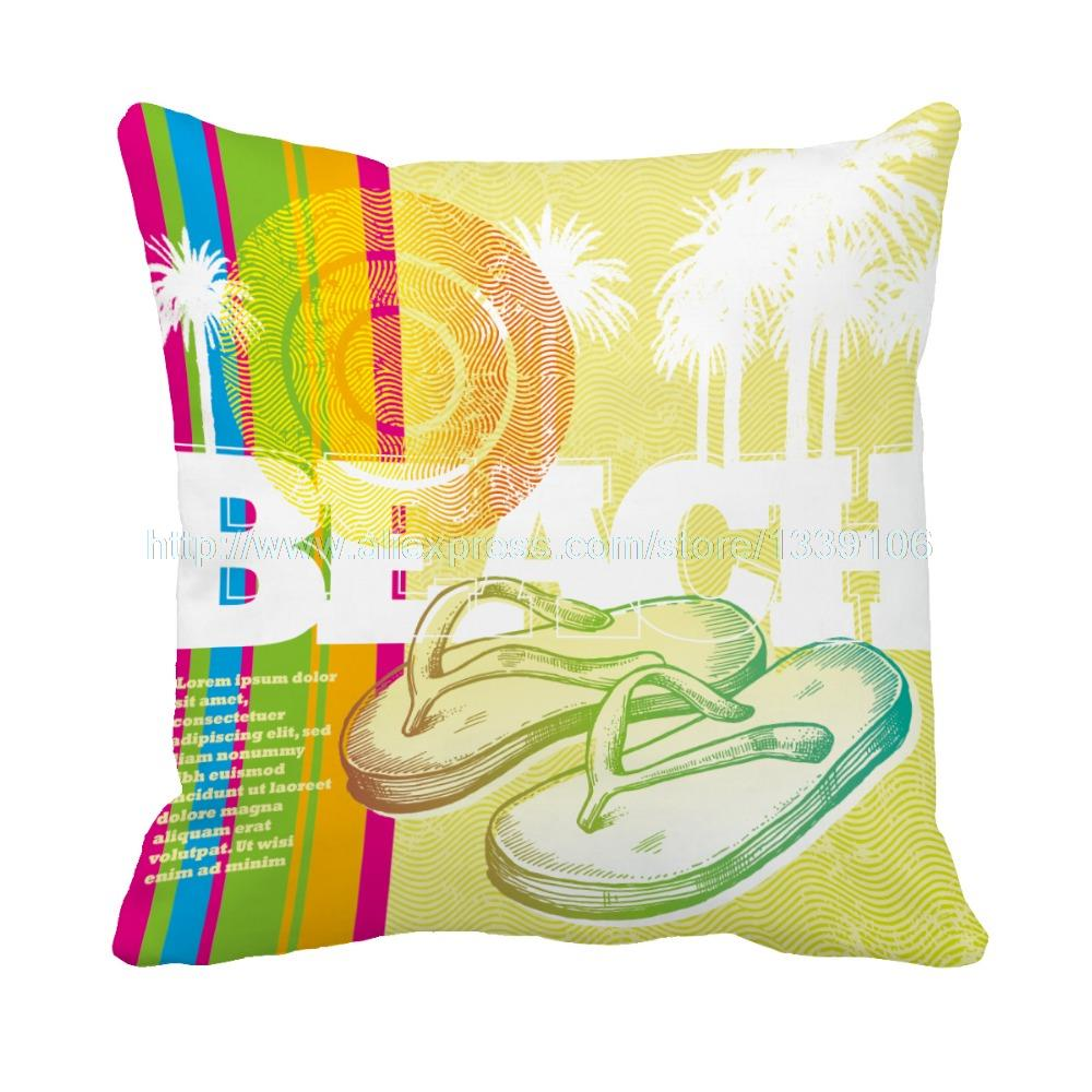 custom outdoor cushions. Hawaii Beach Style Sandals Print Custom Outdoor Cushions For Car Decor Sofa Throw Pillow Decorative Pillows Cojines-in Cushion From Home \u0026 Garden On S