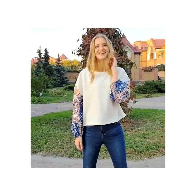 b5e857644eed 2018 otoño Casual Bohemian algodón Oficina mujer punto suelto geométrico  Patchwork impresión chica viaje vacaciones mujer