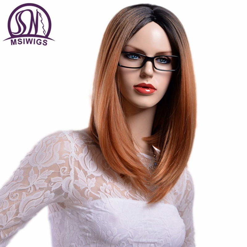 MSIWIGS Medium Long Two Tones Ombre Blonde Wigs For Women Heat Resistant Straight Silver White Synthetic Wig