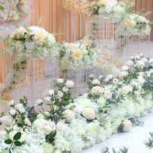 Роскошная Свадебная дорога цитированные цветы Шелковая Роза Пион Гортензия микс DIY арочные двери ряд цветов окно Т станция Свадебные украшения