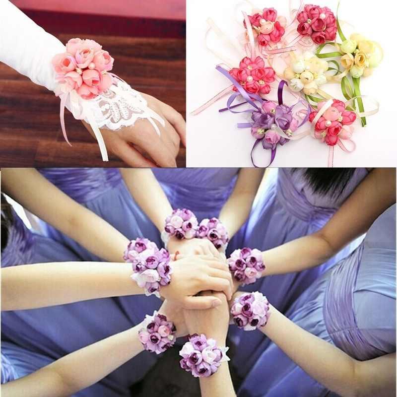 Hermosa pulsera de ramillete de muñeca de estilo bonito de dama de honor hermanas flores de la mano boda fiesta nupcial graduación nuevo
